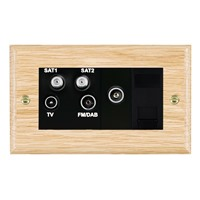 Picture of Non Isolated TV / FM/ Satellite 1/ Satellite 2 Quadplexer 2 In/ 4 Out + TVF + TCS / Black Plastic / Woods Light Oak Ovolo Edge with Black Surround Inserts