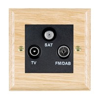 Picture of Non Isolated TV/FM Satellite Triplexer 1 in 3 Out / Black Plastic / Woods Light Oak Ovolo Edge with Black Surround Inserts