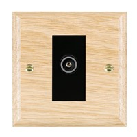 Picture of 1 Gang TV Non Isolated (Female) / Black Plastic / Woods Light Oak Ovolo Edge with Black Surround Inserts