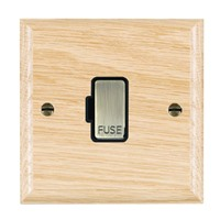 Picture of 1 Gang 13A Fuse Only / Antique Brass / Woods Light Oak Ovolo Edge with Black Surround Inserts