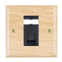 Picture of 1 Gang RJ45 CAT 5E Outlet Unshielded / Black Plastic / Woods Light Oak Ovolo Edge with Black Surround Inserts