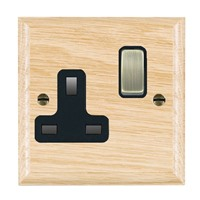 Picture of 1 Gang 13A Double Pole Switched Socket / Antique Brass / Woods Light Oak Ovolo Edge with Black Surround Inserts
