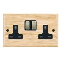 Picture of 2 Gang 13A Double Pole Switched Socket / Antique Brass / Woods Light Oak Ovolo Edge with Black Surround Inserts