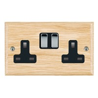 Picture of 2 Gang 13A Double Pole Switched Socket / Bright Chrome / Woods Light Oak Ovolo Edge with Black Surround Inserts
