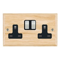 Picture of 2 Gang 13A Double Pole Switched Socket / Satin Chrome / Woods Light Oak Ovolo Edge with Black Surround Inserts