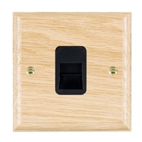 Picture of 1 Gang Telephone Slave / Black Plastic / Woods Light Oak Ovolo Edge with Black Surround Inserts