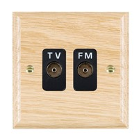 Picture of Isolated TV/FM Diplexer 1 in 2 Out / Black Plastic / Woods Light Oak Ovolo Edge with Black Surround Inserts