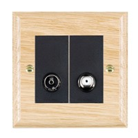 Picture of 2 Gang Non Isolated TV + Salellite 2 In/ 2 Out / Black Plastic / Woods Light Oak Ovolo Edge with Black Surround Inserts