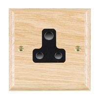 Picture of 1 Gang 5A Unswitched Socket / Black Plastic / Woods Light Oak Ovolo Edge with Black Surround Inserts