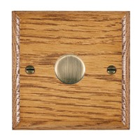 Picture of 1 Gang 600W 2 Way Dimmer / Antique Brass / Woods Medium Oak Ovolo Edge with Black Surround Inserts