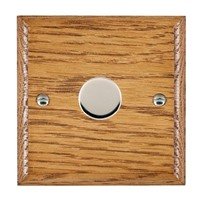 Picture of 1 Gang 600W 2 Way Dimmer / Bright Chrome / Woods Medium Oak Ovolo Edge with Black Surround Inserts