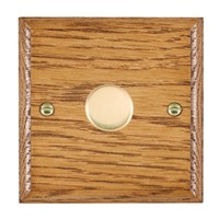 Picture of 1 Gang 600W 2 Way Dimmer / Polished Brass / Woods Medium Oak Ovolo Edge with Black Surround Inserts