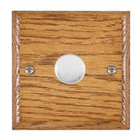 Picture of 1 Gang 600W 2 Way Dimmer / Satin Chrome / Woods Medium Oak Ovolo Edge with Black Surround Inserts