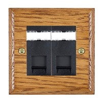 Picture of 2 Gang RJ45 CAT SE Outlet Unshielded / Black Plastic / Woods Medium Oak Ovolo Edge with Black Surround Inserts