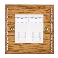 Picture of 2 Gang RJ45 CAT SE Outlet Unshielded / White Plastic / Woods Medium Oak Ovolo Edge with White Surround Inserts