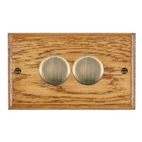 Picture of 2 Gang 400W 2 Way Dimmer / Antique Brass / Woods Medium Oak Ovolo Edge with Black Surround Inserts