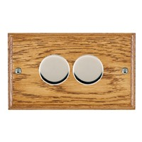 Picture of 2 Gang 400W 2 Way Dimmer / Bright Chrome / Woods Medium Oak Ovolo Edge with Black Surround Inserts