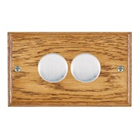 Picture of 2 Gang 400W 2 Way Dimmer / Satin Chrome / Woods Medium Oak Ovolo Edge with Black Surround Inserts