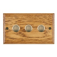 Picture of 3 Gang 400W 2 Way Dimmer / Antique Brass / Woods Medium Oak Ovolo Edge with Black Surround Inserts
