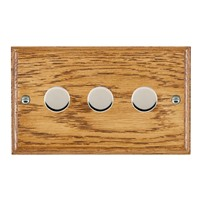 Picture of 3 Gang 400W 2 Way Dimmer / Bright Chrome / Woods Medium Oak Ovolo Edge with Black Surround Inserts