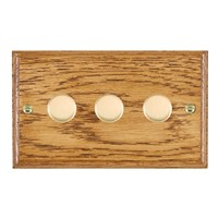 Picture of 3 Gang 400W 2 Way Dimmer / Polished Brass / Woods Medium Oak Ovolo Edge with Black Surround Inserts