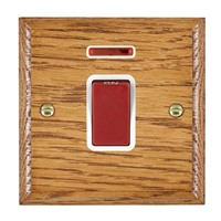 Picture of 1 Gang 45A Double Pole Red Rocker + Neon / Red Plastic / Woods Medium Oak Ovolo Edge with White Surround Inserts