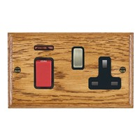 Picture of 45A Double Pole Red Rocker + Neon + 13A Switched Socket / Antique Brass / Woods Medium Oak Ovolo Edge with Black Surround Inserts