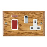 Picture of 45A Double Pole Red Rocker + Neon + 13A Switched Socket / Bright Chrome / Woods Medium Oak Ovolo Edge with White Surround Inserts
