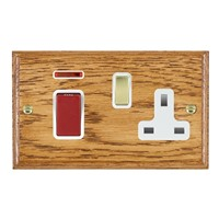 Picture of 45A Double Pole Red Rocker + Neon + 13A Switched Socket / Polished Brass / Woods Medium Oak Ovolo Edge with White Surround Inserts
