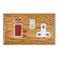 Picture of 45A Double Pole Red Rocker + Neon + 13A Switched Socket / Satin Chrome / Woods Medium Oak Ovolo Edge with White Surround Inserts