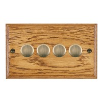 Picture of 4 Gang 400W 2 Way Dimmer / Antique Brass / Woods Medium Oak Ovolo Edge with Black Surround Inserts