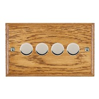 Picture of 4 Gang 400W 2 Way Dimmer / Bright Chrome / Woods Medium Oak Ovolo Edge with Black Surround Inserts