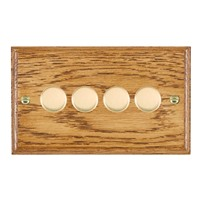 Picture of 4 Gang 400W 2 Way Dimmer / Polished Brass / Woods Medium Oak Ovolo Edge with Black Surround Inserts