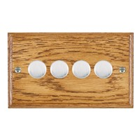 Picture of 4 Gang 400W 2 Way Dimmer / Satin Chrome / Woods Medium Oak Ovolo Edge with Black Surround Inserts