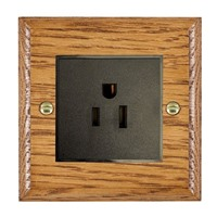 Picture of 1 Gang 15A American Unswitched Socket / Black Plastic / Woods Medium Oak Ovolo Edge with Black Surround Inserts