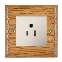 Picture of 1 Gang 15A American Unswitched Socket / White Plastic / Woods Medium Oak Ovolo Edge with White Surround Inserts