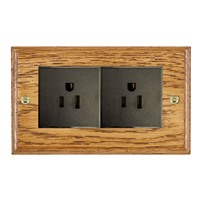 Picture of 2 Gang 15A American Unswitched Socket / Black Plastic / Woods Medium Oak Ovolo Edge with Black Surround Inserts