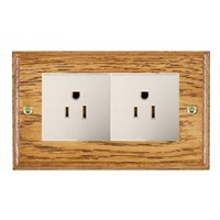 Picture of 2 Gang 15A American Unswitched Socket / White Plastic / Woods Medium Oak Ovolo Edge with White Surround Inserts