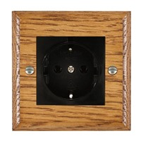 Picture of 1 Gang 16A German Unswitched Socket / Black Plastic / Woods Medium Oak Ovolo Edge with Black Surround Inserts