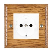 Picture of 1 Gang 16A German Unswitched Socket / White Plastic / Woods Medium Oak Ovolo Edge with White Surround Inserts