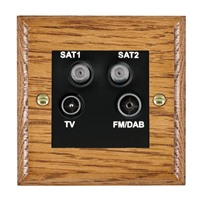 Picture of Non Isolated TV/FM/Satellite 1/ Satellite 2 Quadplexer 2 In/ 4 Out / Black Plastic / Woods Medium Oak Ovolo Edge with Black Surround Inserts
