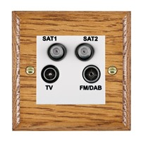 Picture of Non Isolated TV/ FM/ Satellite 1/ Satellite 2 Quadplexer 2 In/ 4 Out / White Plastic / Woods Medium Oak Ovolo Edge with White Surround Inserts