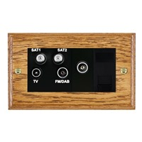 Picture of Non Isolated TV/FM/ Satellite 1/ Satellite 2 Quadplexer 2 In/ 4 Out / Black Plastic / Woods Medium Oak Ovolo Edge with Black Surround Inserts