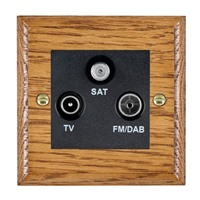 Picture of Non Isolated TV/FM/Satellite Triplexer 1 In/3 Out / Black Plastic / Woods Medium Oak Ovolo Edge with Black Surround Inserts