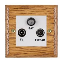Picture of Non Isolated TV/FM/ Satellite Triplexer 1 In/ 3 Out / White Plastic / Woods Medium Oak Ovolo Edge with White Surround Inserts