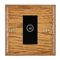 Picture of 1 Gang TV Non Isolated (Female) / Black Plastic / Woods Medium Oak Ovolo Edge with Black Surround Inserts