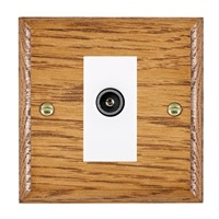 Picture of 1 Gang TV Non Isolated (Female) / White Plastic / Woods Medium Oak Ovolo Edge with White Surround Inserts