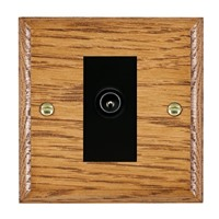 Picture of 1 Gang TV Non Isolated (Male) / Black Plastic / Woods Medium Oak Ovolo Edge with Black Surround Inserts