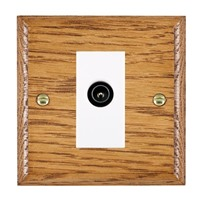 Picture of 1 Gang TV Non Isolated (Male) / White Plastic / Woods Medium Oak Ovolo Edge with White Surround Inserts