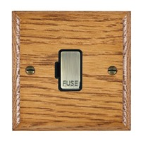 Picture of 1 Gang 13A Fuse Only / Antique Brass / Woods Medium Oak Ovolo Edge with Black Surround Inserts